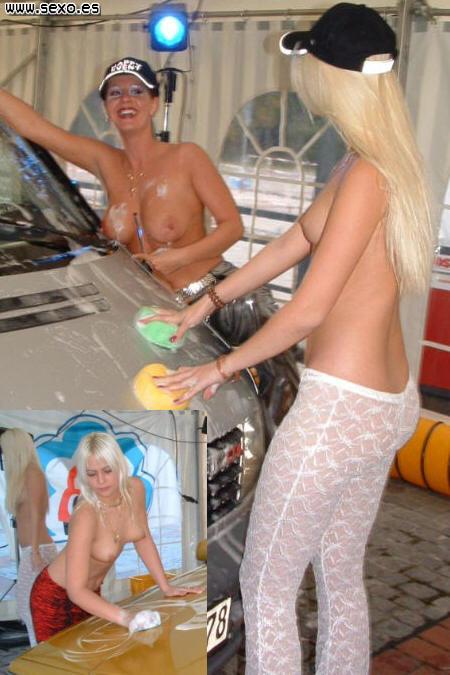 Chicas lavando coches casi desnudas...